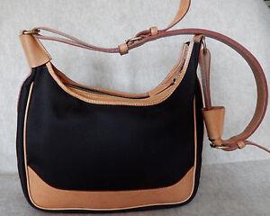 3014d85fda98 Vintage Dooney and Bourke Brown Canvas   Tan Leather Trim Shoulder ...