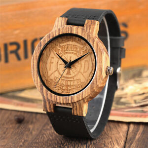Casual-Men-039-s-Quartz-Wooden-Watch-Doctor-Who-Fireman-Design-Black-Leather-Strap