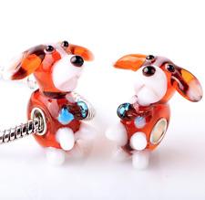 NEW Beautiful Lampwork Glass Brown Dog Charm Bead, UK Seller