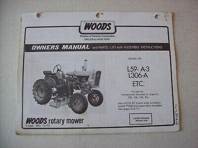 Original Woods L59 A 3 L306 A International A 100 130 Operators Parts Manual EBay