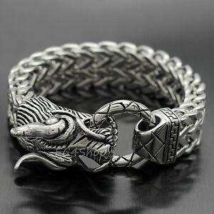 Heavy Dragon Heads Silver Gold Stainless Steel Franco Chain Cuban Men/'s Bracelet
