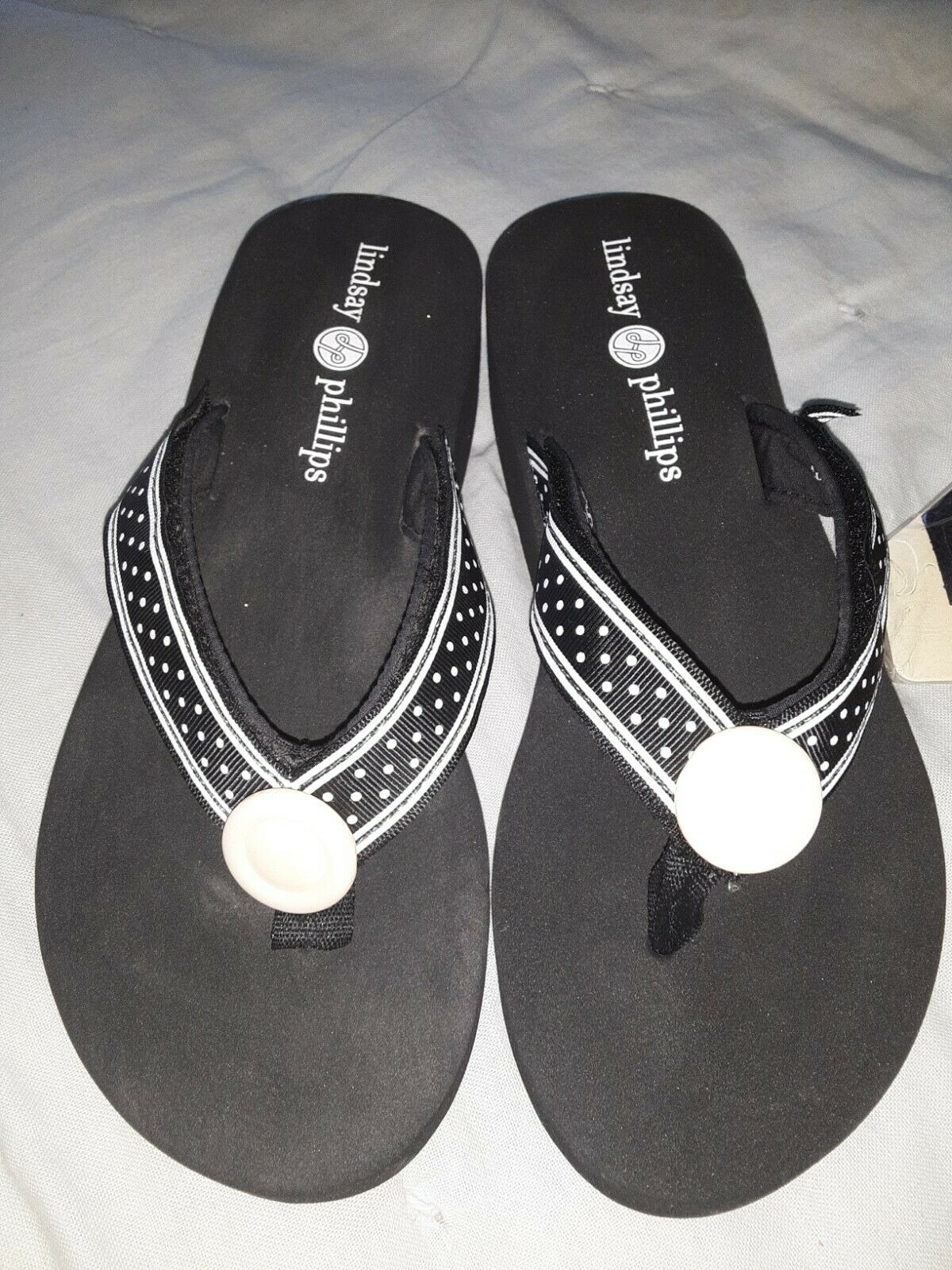 Lindsay Phillips Switchflops Black, 6, with 4 different colored straps
