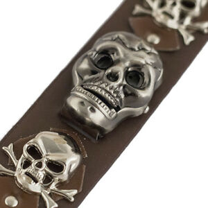 Details about Cool Skull Head Leather Wrist Band Watch Gothic Punk Rock Emo  Biker Skull