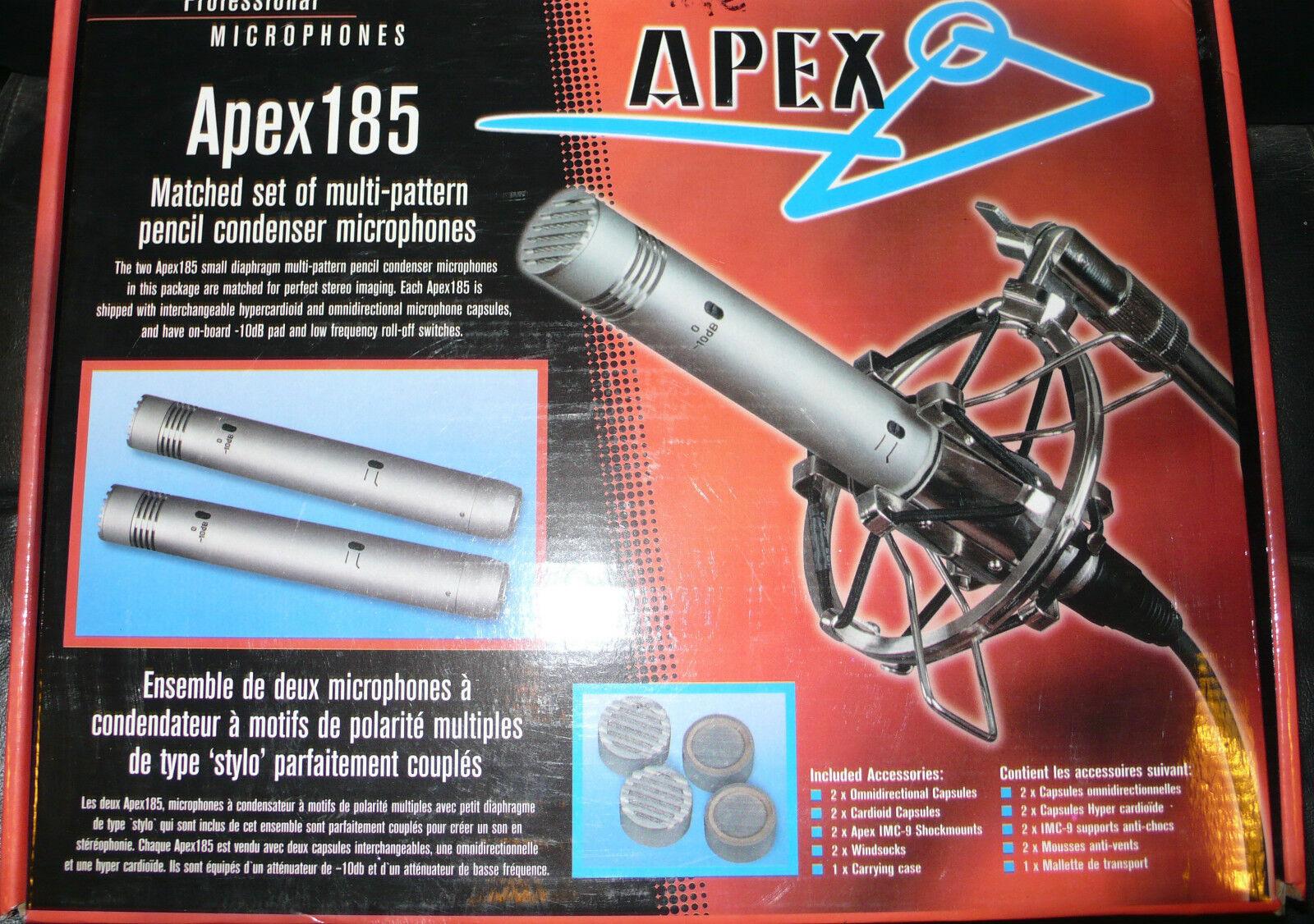 MICROPHONES ( 2)  APEX 185 COUPLE STUDIO + Cadeau 1 Filtre Anti Pop
