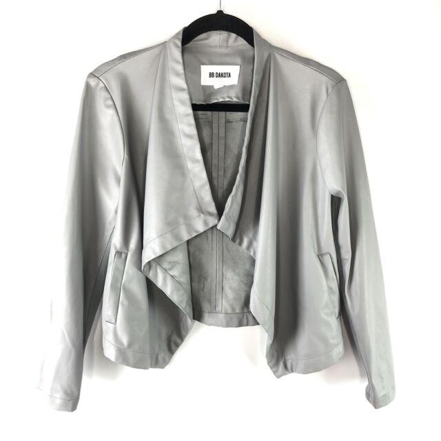 Anthropologie BB Dakota Jacket Women's Size Small Grey Vegan Leather Drape