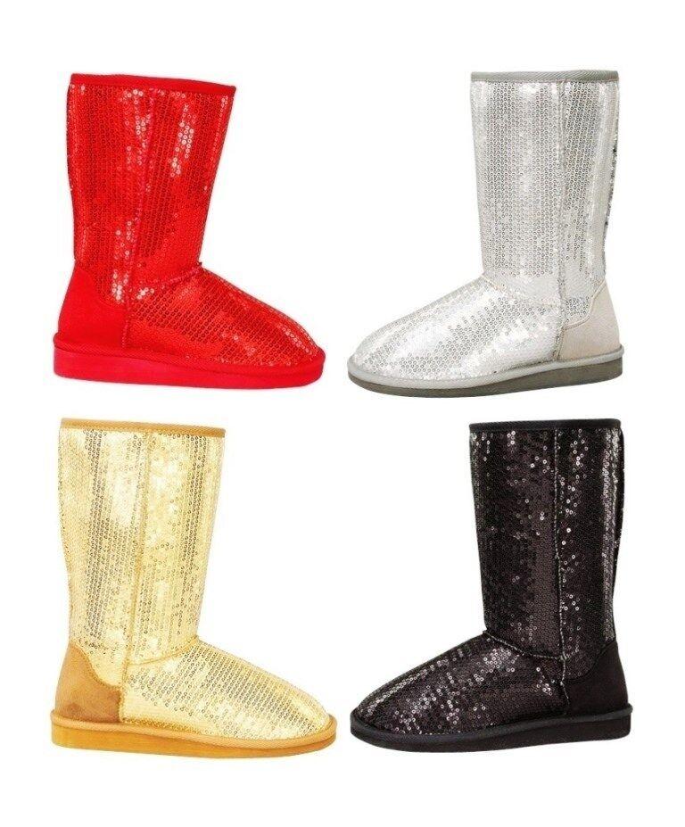 New Comfy Women Sequins Glitter Flat Winter Warm Mid Calf Boots Booties Shoes