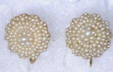 Antique Victorian 14k Yellow Gold Seed Pearl Wedding Earrings Bridal #O307