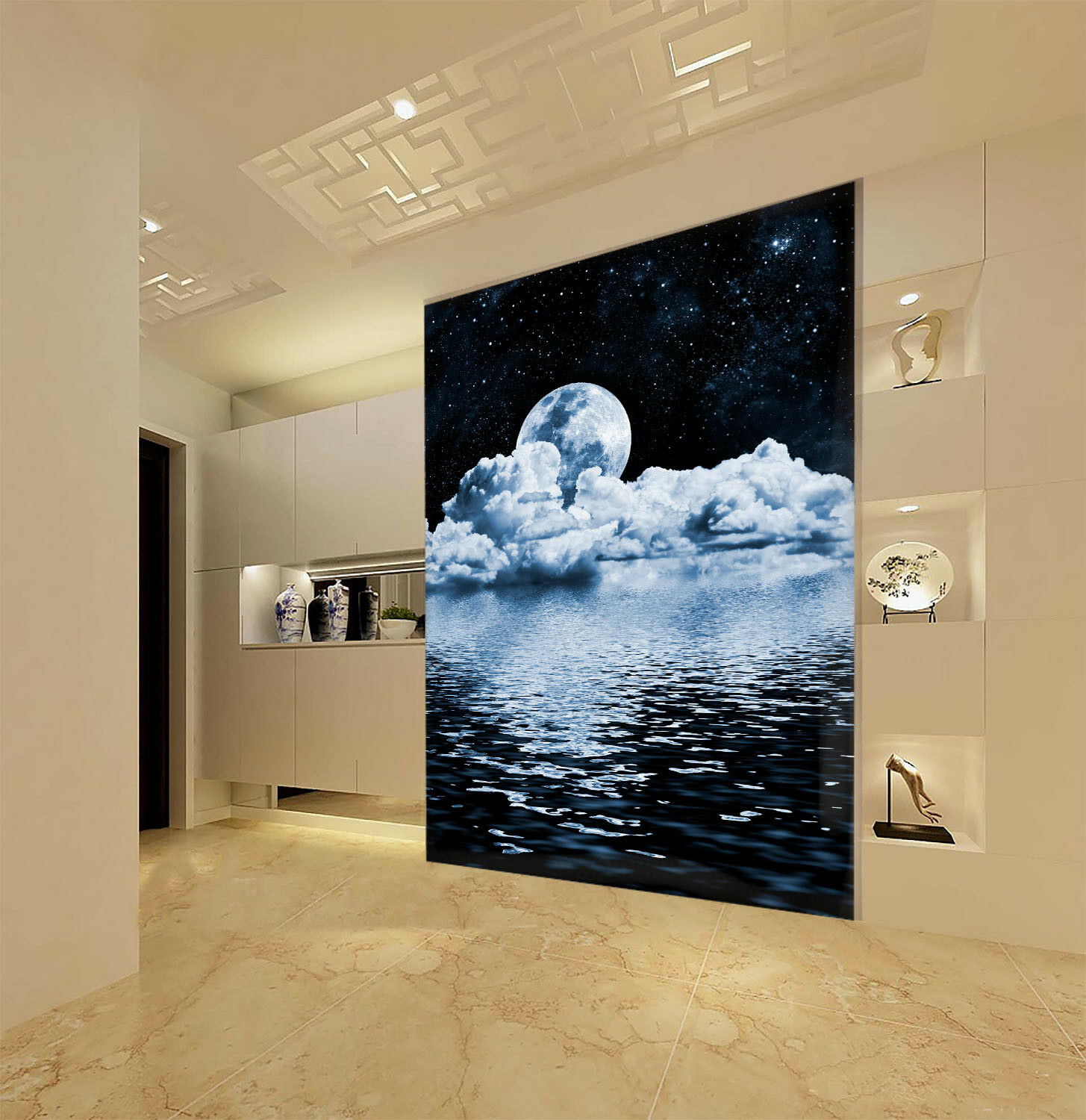 3D Cloud Moon 405 Wallpaper Murals Wall Print Wall Mural AJ WALL AU Summer