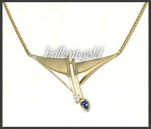 Diamant-amp-Saphir-Collier-Goldschmied-Handarbeit-585-Gold-Gelbgold-Kette