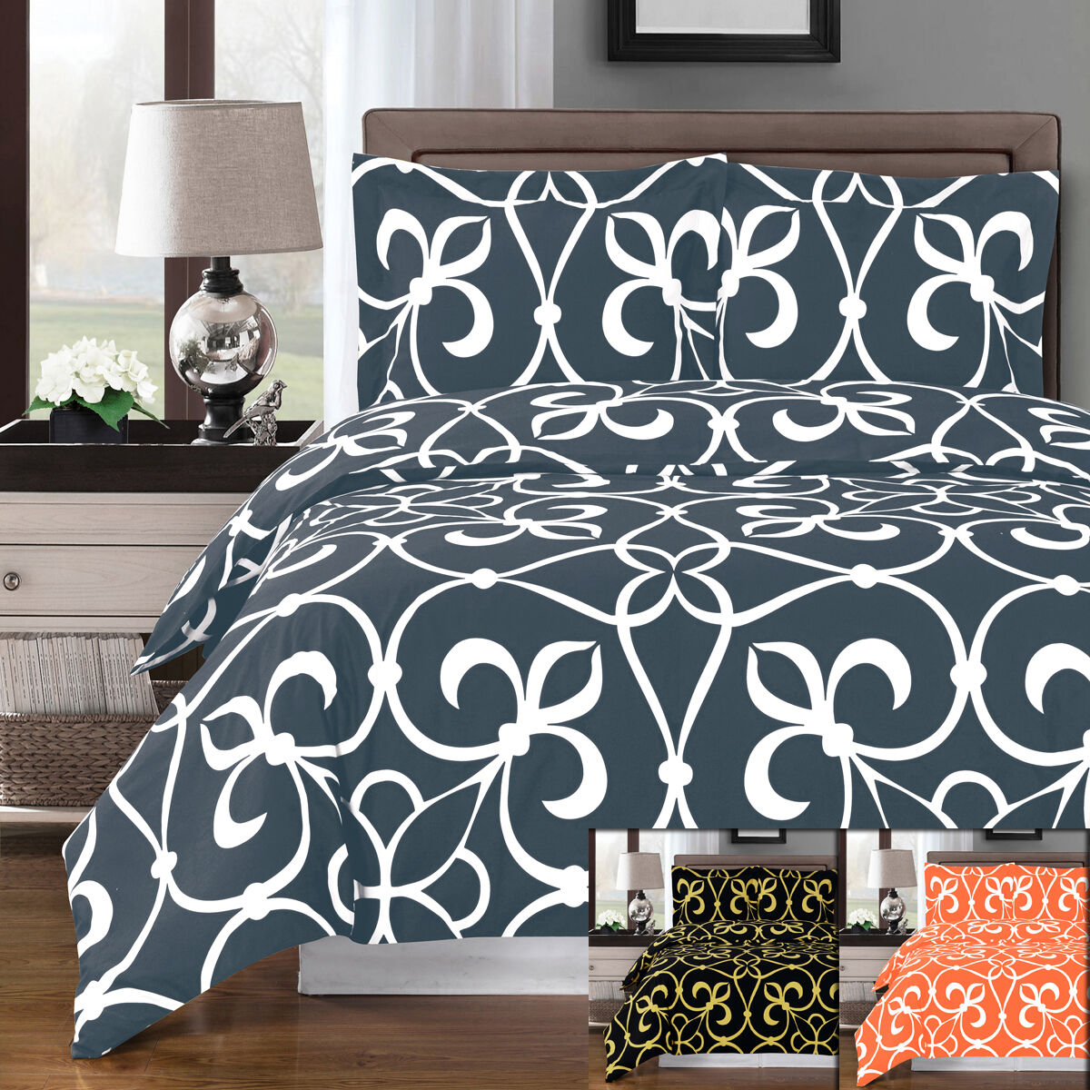 3PC Vibrant Victoria 300 Thread Count Combed Cotton Duvet Cover Set Combed