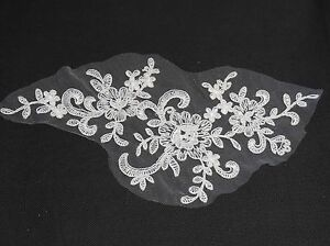 small piece black or ivory lace applique dress making floral tulle lace motif