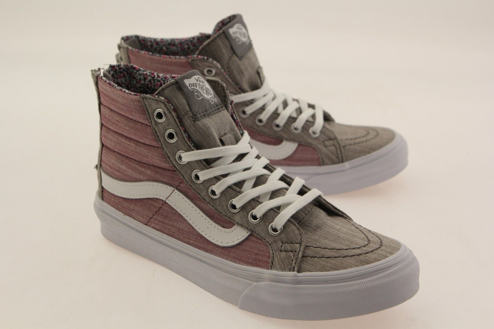 Vans Women Sk8-Hi Chambray Slim Zip - Floral Chambray Sk8-Hi gray true white VN0XH8IE0 ddf39a