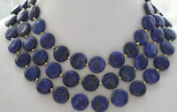 """Natural 12mm coin blue lapis lazuli bead necklace 50"""" AAA+"""