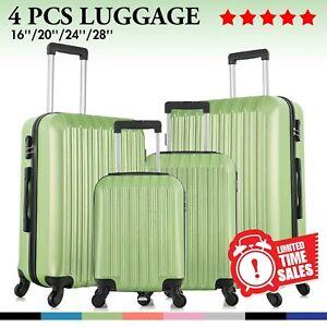 "Set of 4 Luggage Set ABS Lightweight Travel Hard case Suitcase 16"" 20"" 24"" 28"""