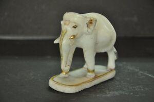 Vecchio-Bianco-Marmo-Unico-Fatto-a-Mano-Elefante-Figurina