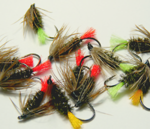 """hook size 12 Dry Fly 10 /""""Red Tag/"""" or wet fly fishing flies"""