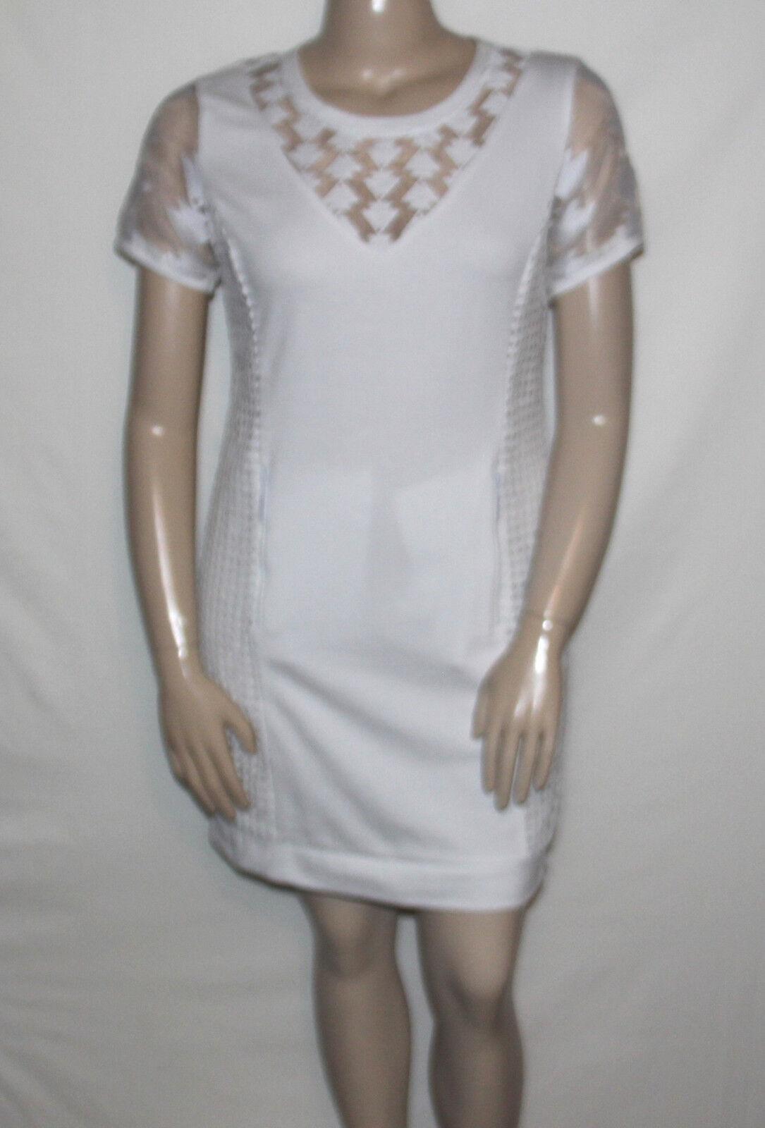 NEW Catherine Malandrino Size LARGE Genie Mixed-Pattern Sweatshirt Dress WHITE