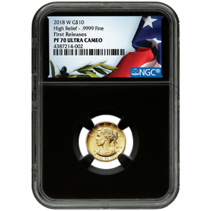 2018-W Proof $10 Gold American Liberty High Relief 1//10th oz NGC PF70UC Flag FR