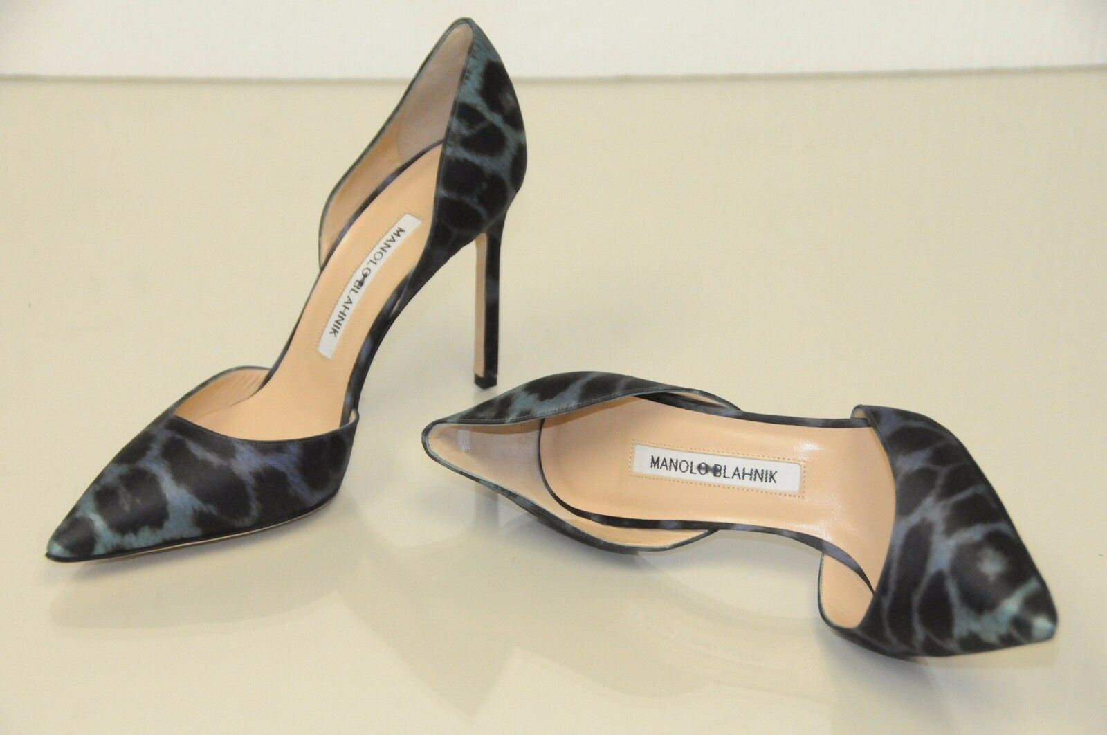 Neuf Manolo Blahnik Tayler Noir Vert Vert Vert Léopard Satin Escarpins Dorsay Chaussures 7cd04b