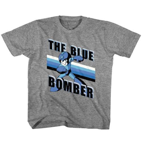 Megaman Blue Bomber Stripes Kids T Shirt Rokkuman Boys Girls Youth Child Gamer