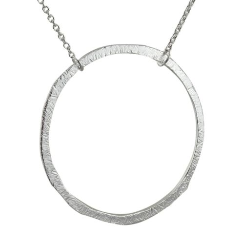 Textured Circle Necklace 925 Sterling Silver Round Karma What Goes Around Gift