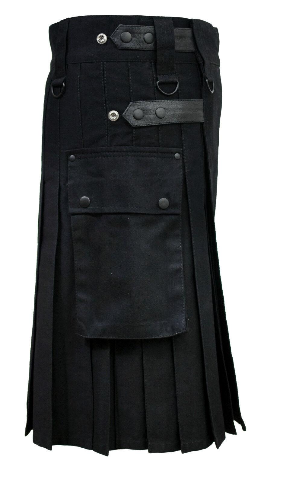 Da Uomo Nero pelle Cinghie in pelle Nero Moda Sport Utilità Gonnellino Lusso Kilt 5695d4