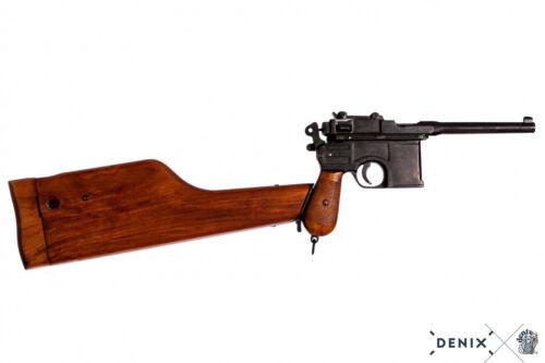 Pistola Mauser C96 in metallo con calcio fondina legno Germania 1896 reenactor