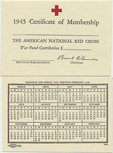 Details about 1945 American Red Cross Certificate of Membership Certificate  Mint Condition