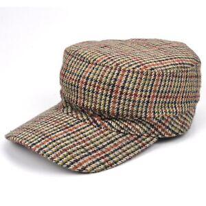 86626ac99acd Flat Cap Peak Tweed Country Farmer Golf Classic Vintage Herringbone ...