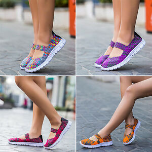 2017 New Style Woven Shoes Slip On Elastic Flat Shoes Breathable Casual Sandals