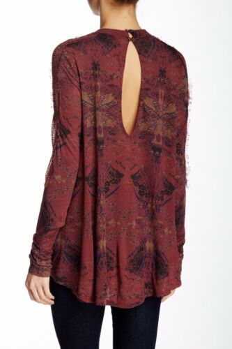 $88 Free People OB463539 Berry Combo Nouveau Draped Front Lace Inset Blouse Top