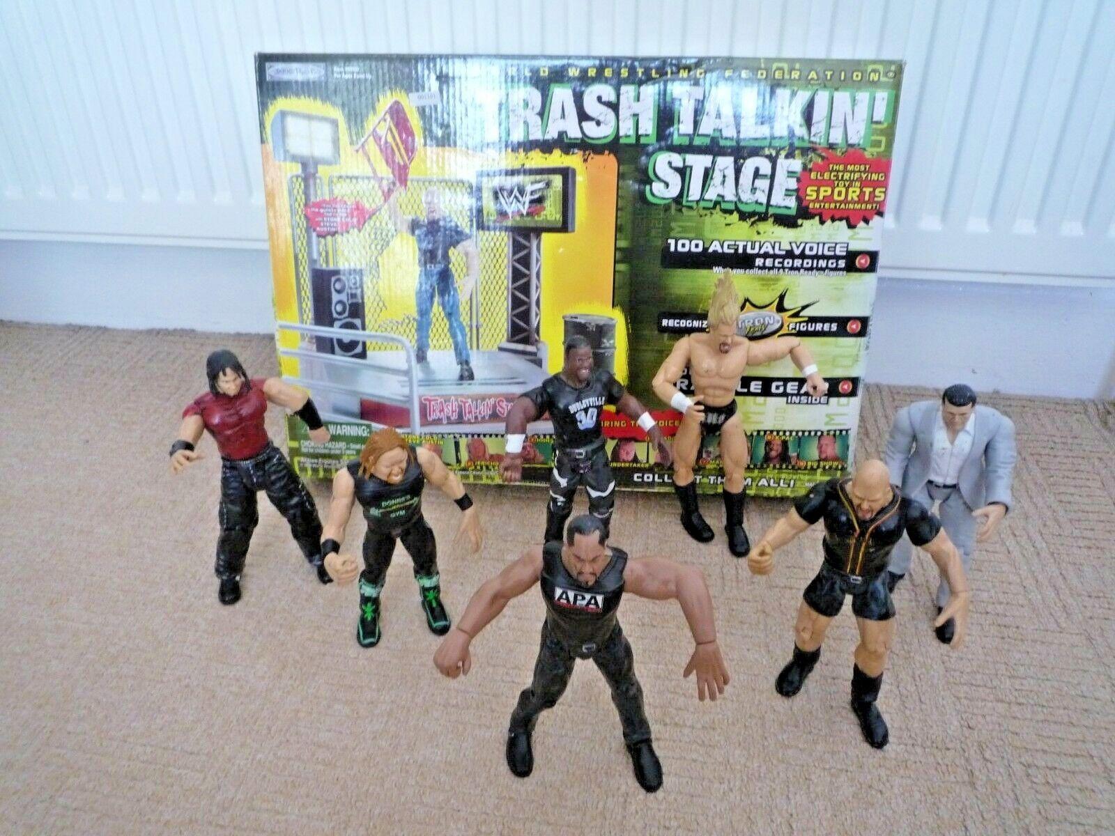 WWE WWF Titan Tron basura hablando etapa Sellado & 7 figuras Titan Tron