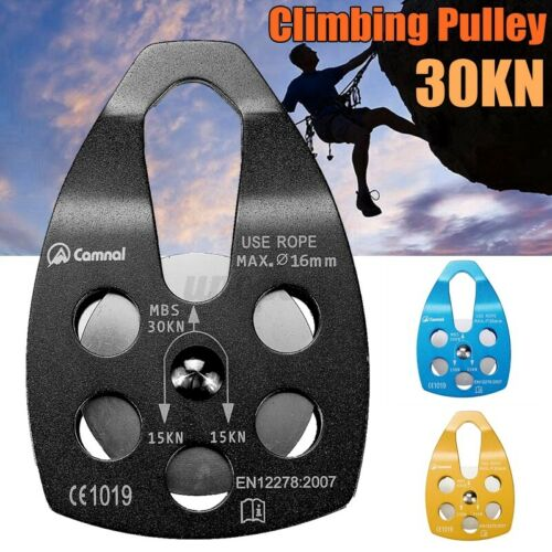 30KN Mountaineer Rock Climbing Zip Line Wire Cable Trolley Pulley Climb Rock