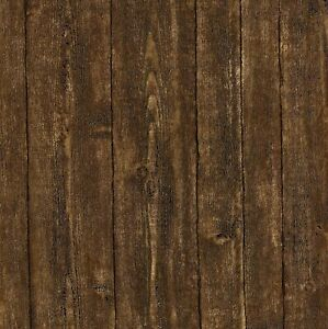 Wallpaper Faux Wood Plank Dark Brown Paneling