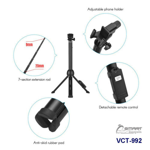 VCT-992 Portable Tripod Selfie Stick Bluetooth Remote for Galaxy Note 8 Note 9