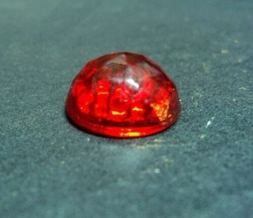 10 RUBY RED Glass * CATS EYE * NOS Faceted REFLECTOR Sign JEWELS! Vintage