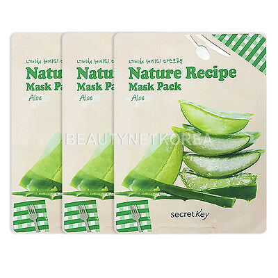 [SECRET KEY] Nature Recipe Mask Pack Aloe 3pcs / Korea cosmetic