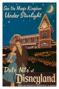 date-night-AT-DISNEYLAND-vintage-poster-24X36-MAGIC-KINGDOM-by-starlight-HOT
