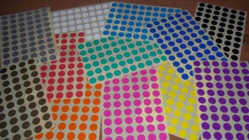 De 15 mm redondo en blanco precio pegatinas-Color etiquetado código Dots-Etiquetas Autoadhesivas