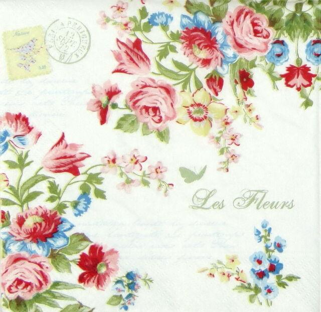 4x Paper Napkins for Decoupage Decopatch Craft Les Fleurs