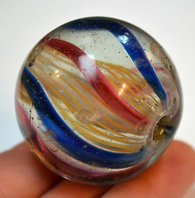 Huge Rare Antique German Drawn Glass Marble Bead Internal Stripes, African Trade