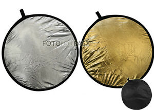"""24"""" 2-in-1 Photo Light Mulit Collapsible disc Reflector 60cm Silver & Golden"""