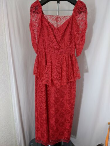 Vintage 80's Red Floral Lace Dress Prom Gown gorge