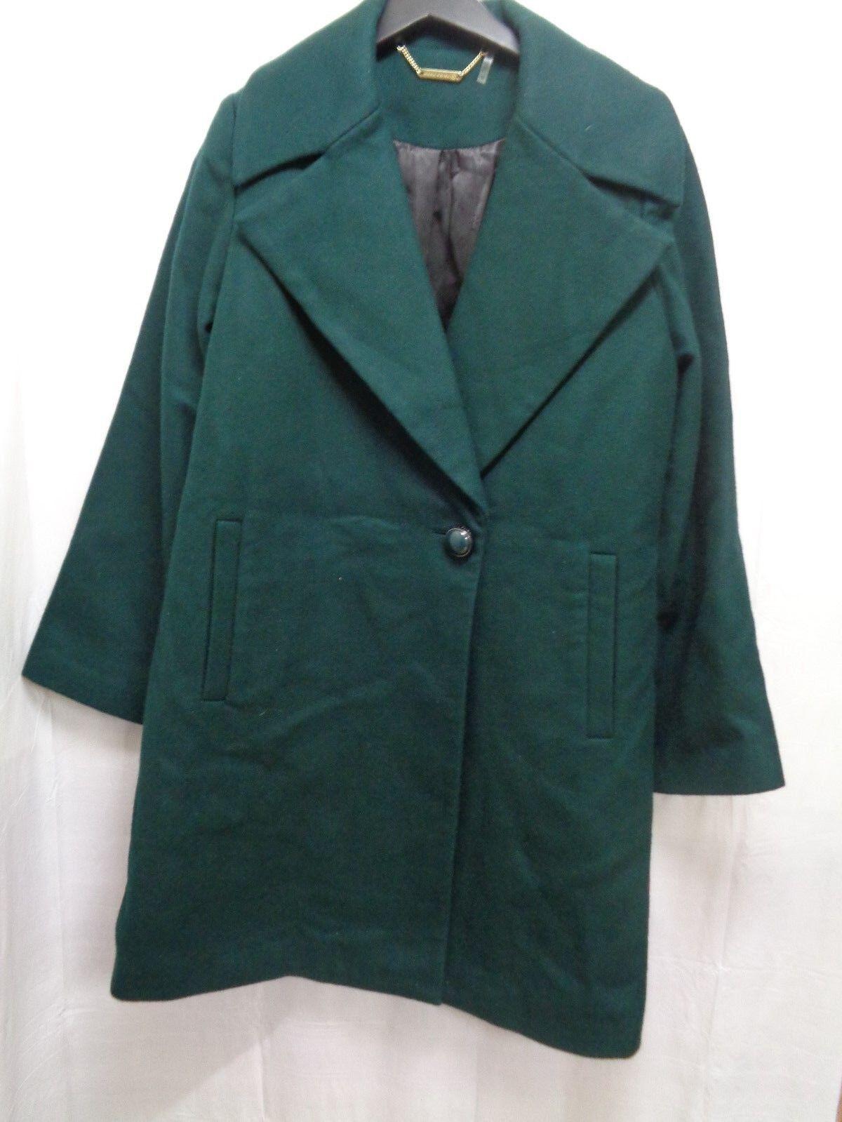 Women's Trina Turk Claire Wool Blend Coat in Bottle Green Size 10