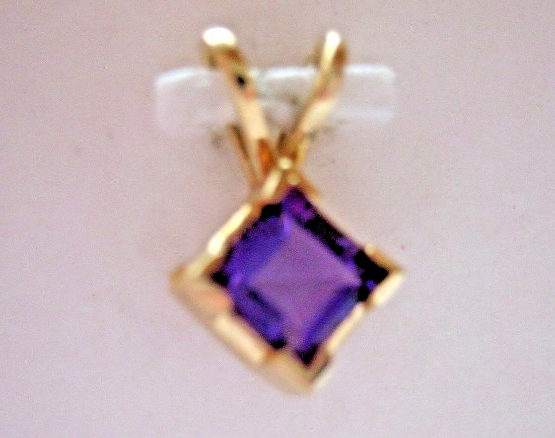 PRINCESS CUT AMETHYST 14K YELLOW gold PENDANT