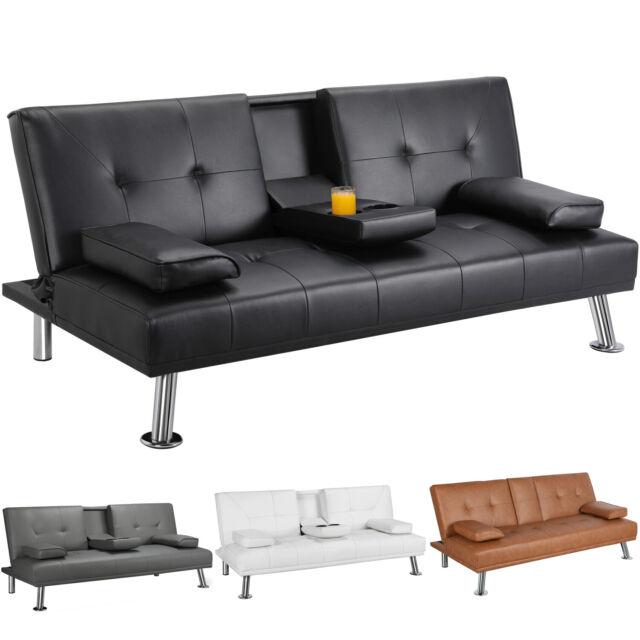 Maxton Black Bycast Leather Futon Sofa