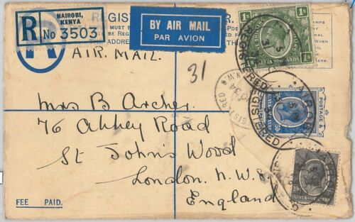 51886 KUT East Africa POSTAL HISTORY POSTAL STATIONERY Registered COVER
