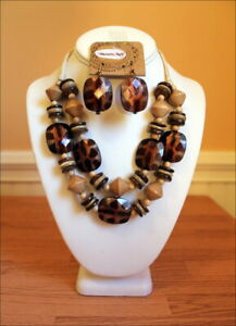 Brown-Tan-Leopard-Pattern-Bead-Tribal-Two-Strand-Necklace-Set