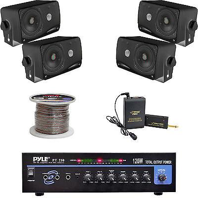 """Lavalier Mic Set Black 3.5/"""" Box Speakers Speaker Wire,PT210 Mono Mic Amplifier"""