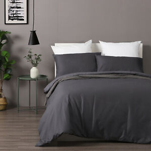 Dreamaker Cotton Waffle Pillowcase Duvet Doona Quilt Cover Set Queen Bed Grey